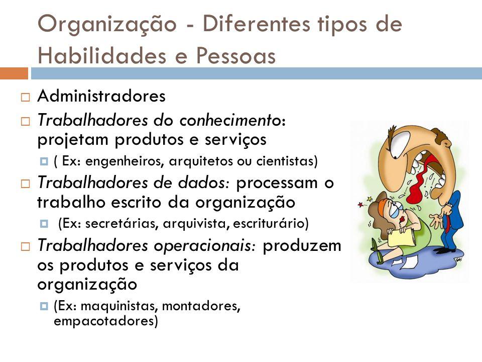 Organização - Diferentes tipos de Habilidades e Pessoas