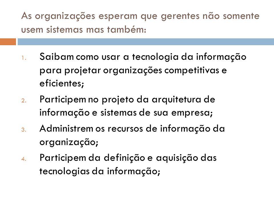 As organizações esperam que gerentes não somente usem sistemas mas também: