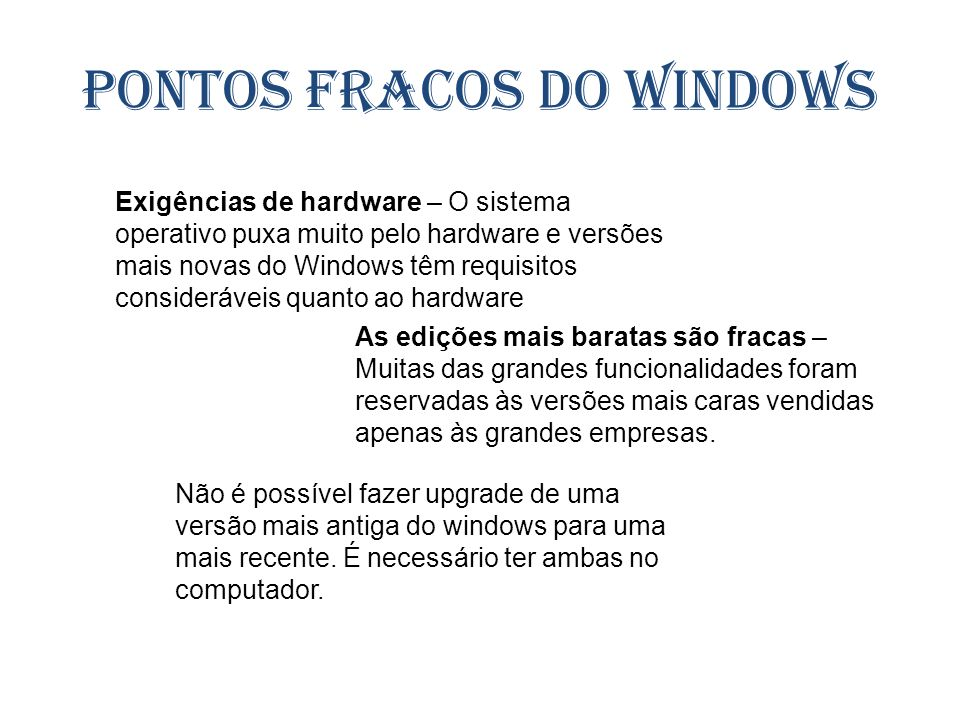 Pontos fracos do Windows