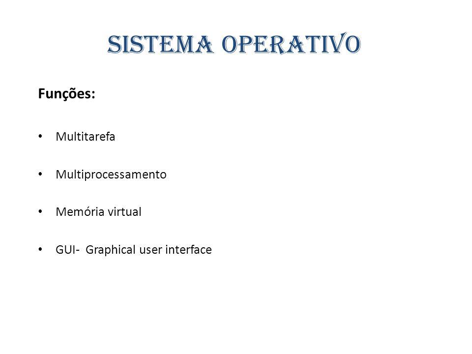 Sistema operativo Funções: Multitarefa Multiprocessamento