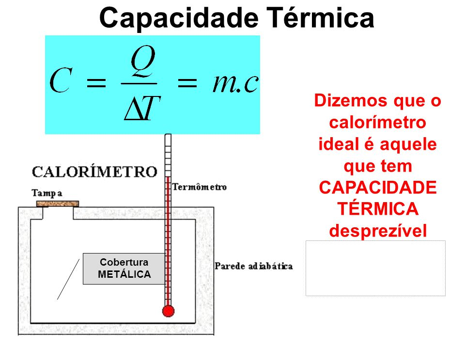 Capacidade Térmica Dizemos que o calorímetro ideal é aquele que tem CAPACIDADE TÉRMICA desprezível (próxima a zero!)