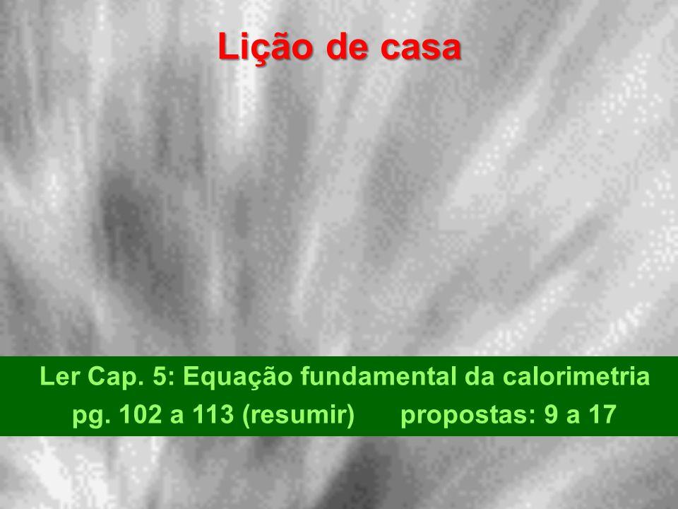 Lição de casa Ler Cap. 5: Equação fundamental da calorimetria