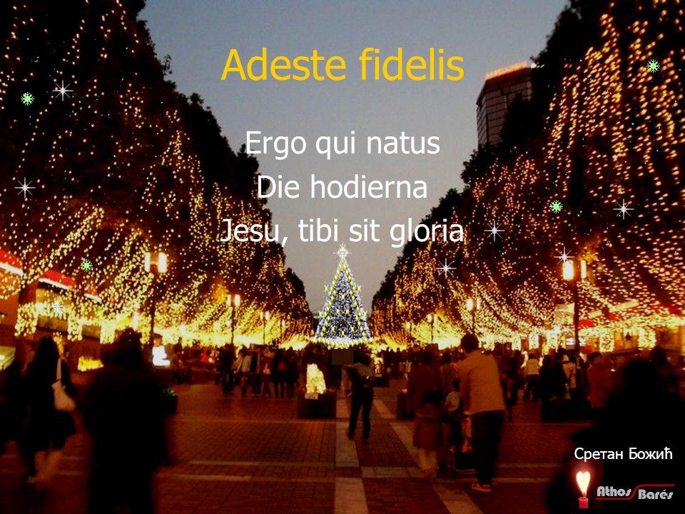 Adeste fidelis Ergo qui natus Die hodierna Jesu, tibi sit gloria