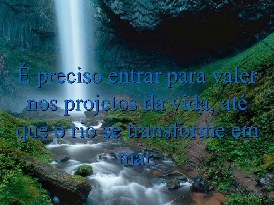 É preciso entrar para valer nos projetos da vida, até que o rio se transforme em mar.