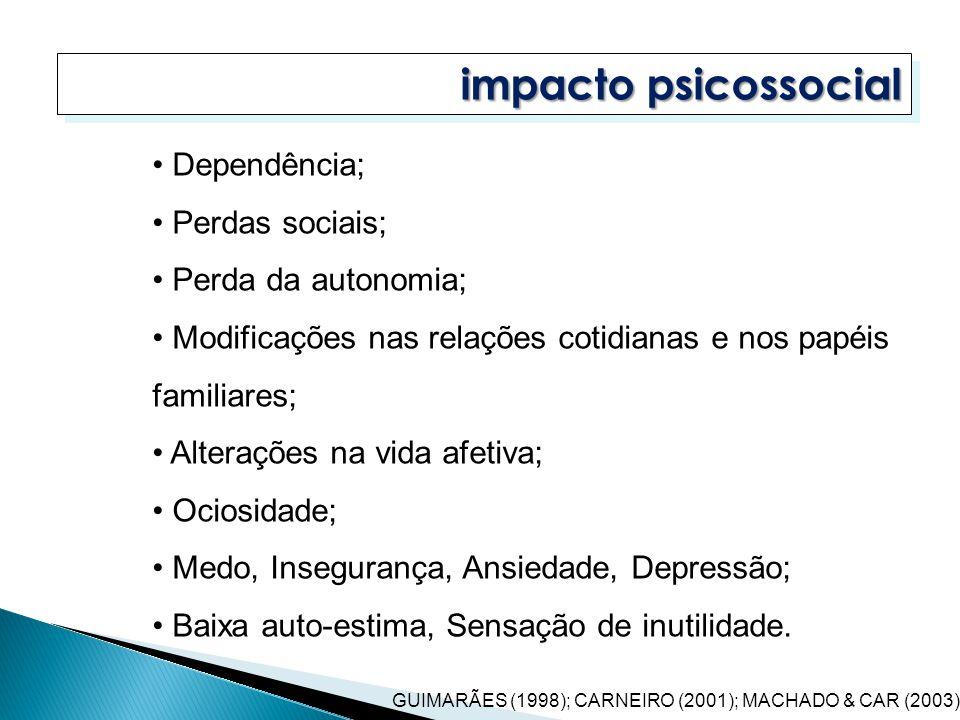 impacto psicossocial Dependência; Perdas sociais; Perda da autonomia;