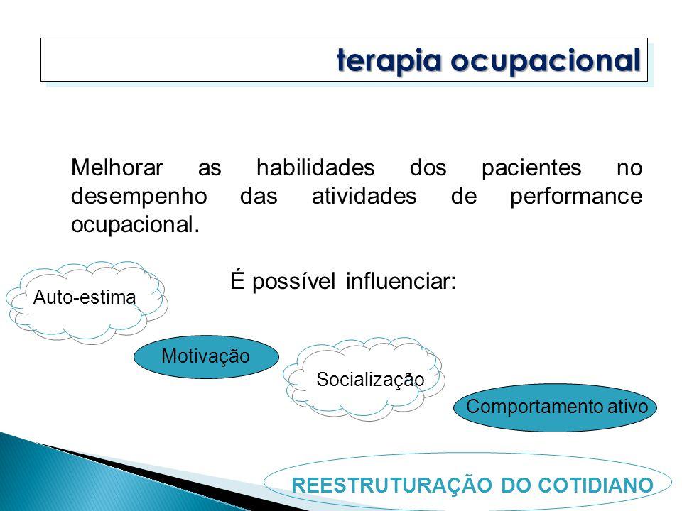 terapia ocupacional Melhorar as habilidades dos pacientes no desempenho das atividades de performance ocupacional.