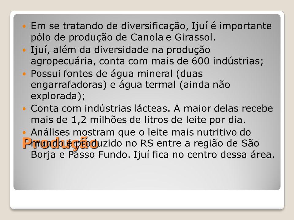 Em se tratando de diversificação, Ijuí é importante pólo de produção de Canola e Girassol.