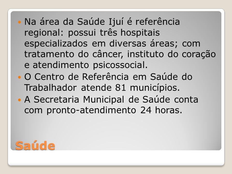 Na área da Saúde Ijuí é referência regional: possui três hospitais especializados em diversas áreas; com tratamento do câncer, instituto do coração e atendimento psicossocial.