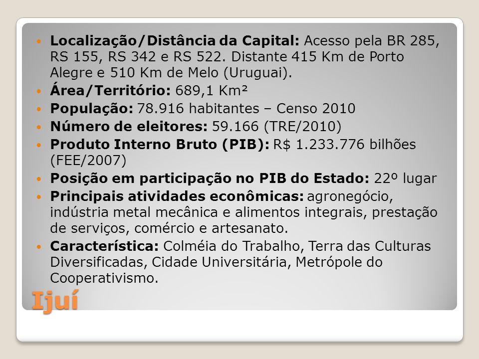 Localização/Distância da Capital: Acesso pela BR 285, RS 155, RS 342 e RS 522. Distante 415 Km de Porto Alegre e 510 Km de Melo (Uruguai).