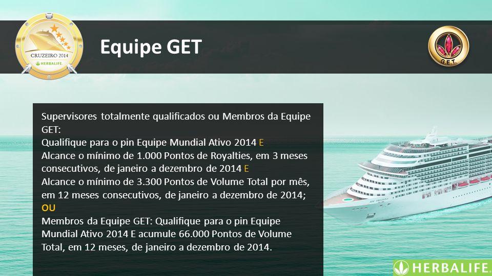 Equipe GET Supervisores totalmente qualificados ou Membros da Equipe GET: Qualifique para o pin Equipe Mundial Ativo 2014 E.