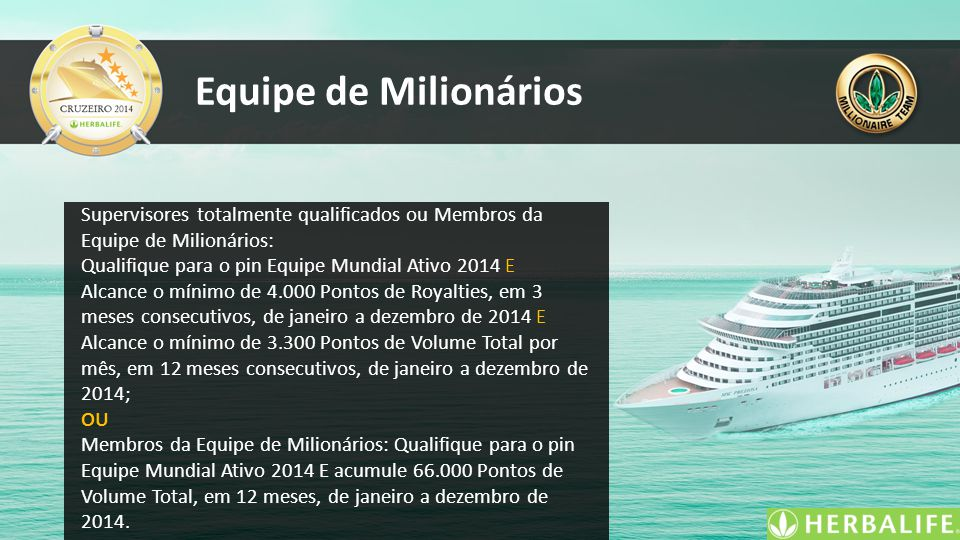 Equipe de Milionários Supervisores totalmente qualificados ou Membros da Equipe de Milionários: Qualifique para o pin Equipe Mundial Ativo 2014 E.
