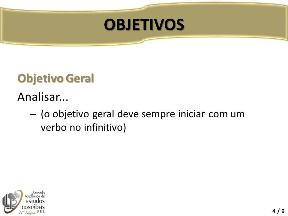 OBJETIVOS Objetivo Geral Analisar...