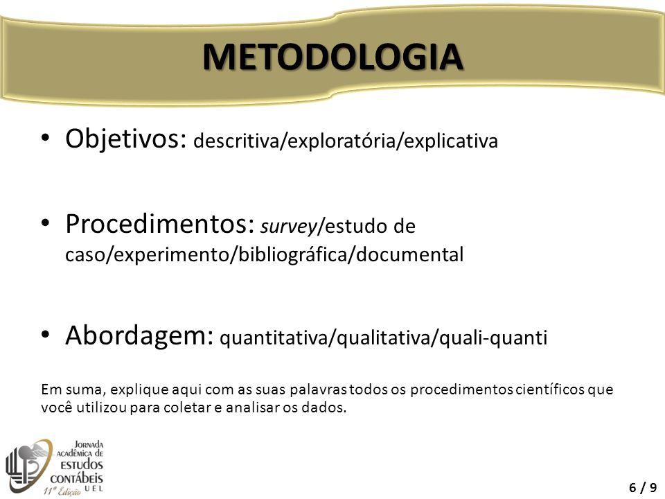 METODOLOGIA Objetivos: descritiva/exploratória/explicativa
