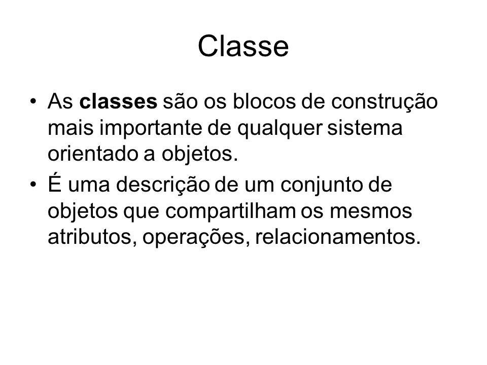 Classe As classes são os blocos de construção mais importante de qualquer sistema orientado a objetos.
