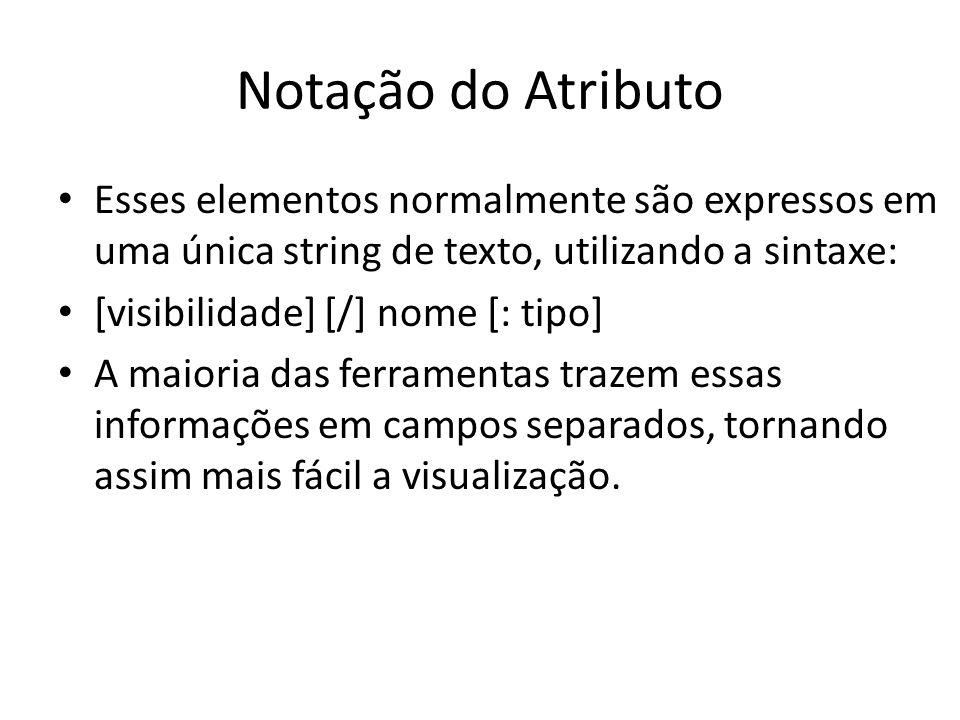 Notação do Atributo Esses elementos normalmente são expressos em uma única string de texto, utilizando a sintaxe: