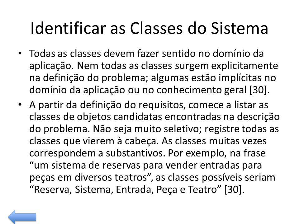 Identificar as Classes do Sistema