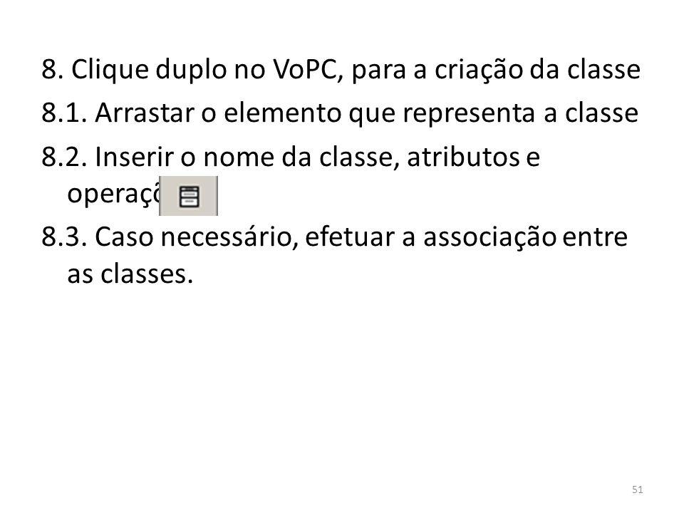 8. Clique duplo no VoPC, para a criação da classe 8. 1