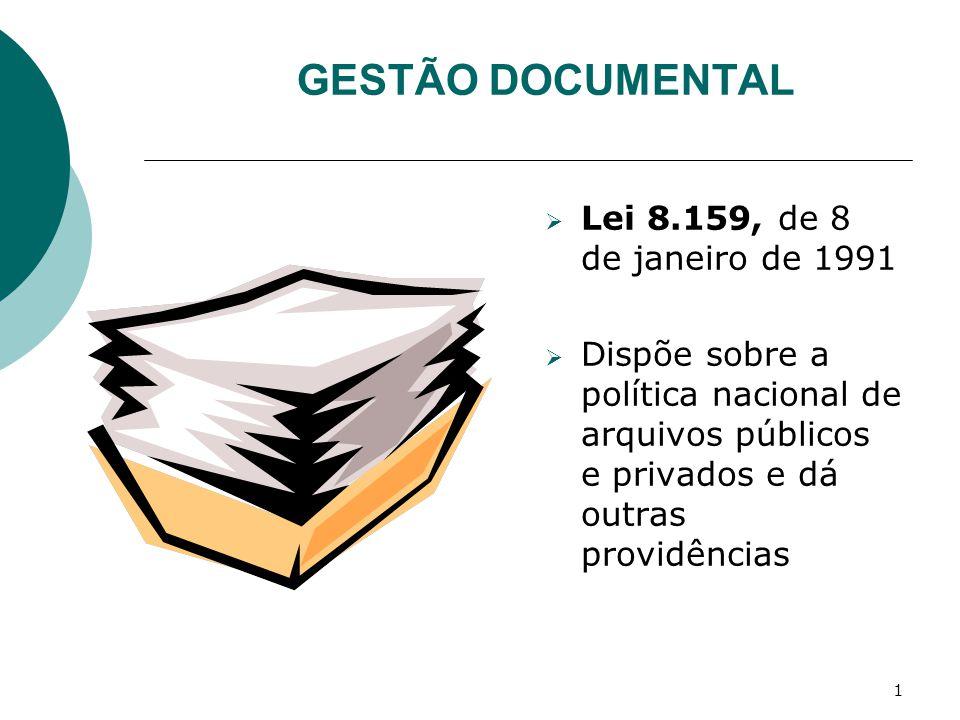 GESTÃO DOCUMENTAL Lei 8.159, de 8 de janeiro de 1991