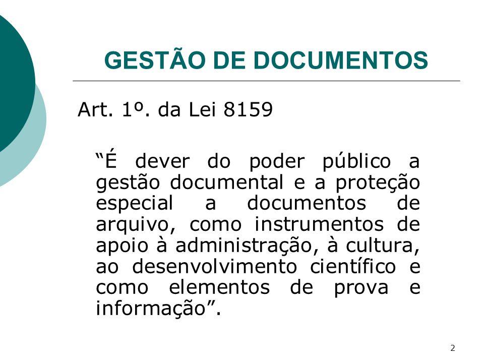 GESTÃO DE DOCUMENTOS Art. 1º. da Lei 8159