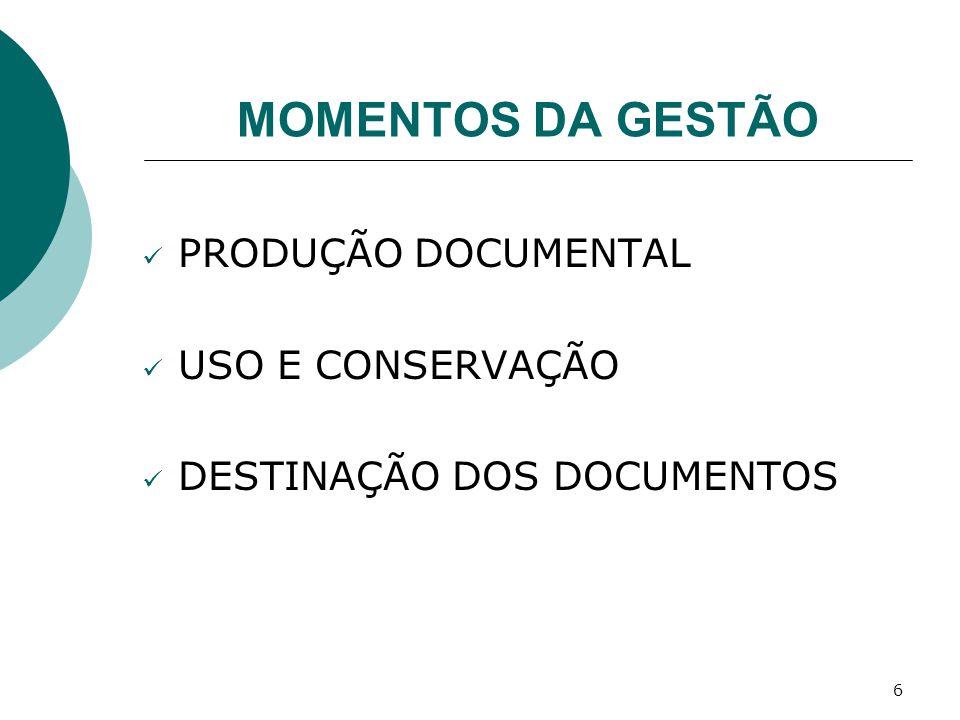 MOMENTOS DA GESTÃO PRODUÇÃO DOCUMENTAL USO E CONSERVAÇÃO