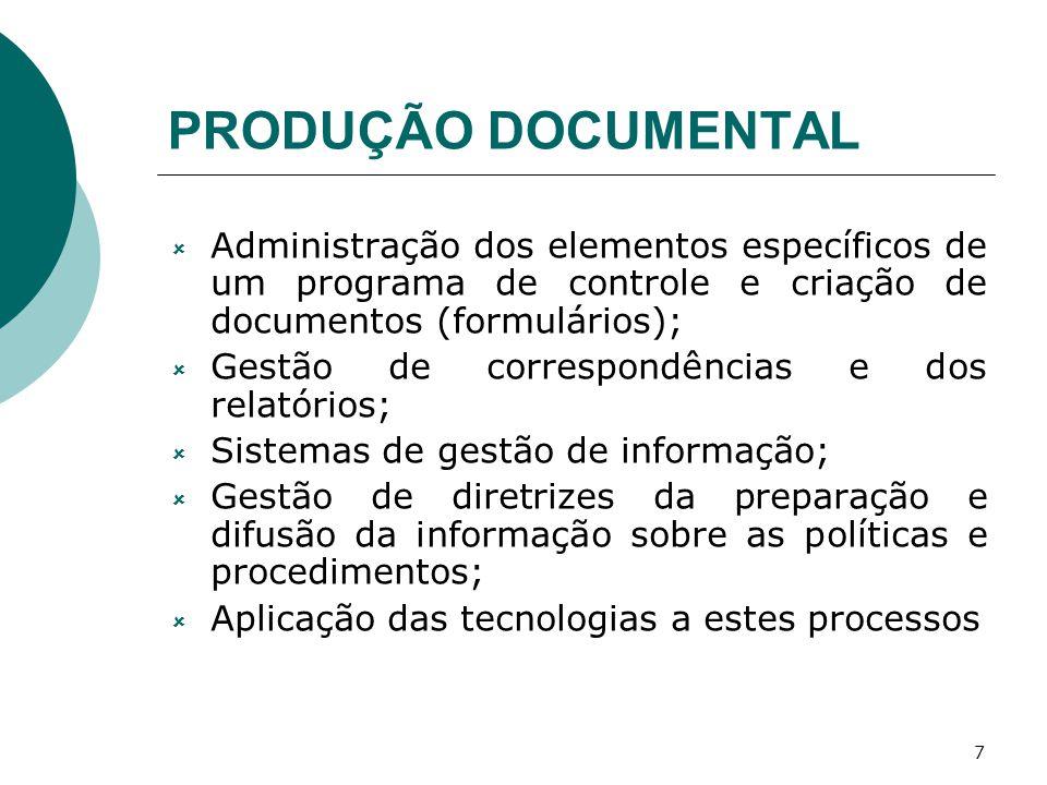 PRODUÇÃO DOCUMENTAL Administração dos elementos específicos de um programa de controle e criação de documentos (formulários);
