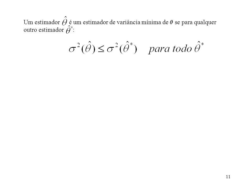 Um estimador é um estimador de variância mínima de  se para qualquer outro estimador :
