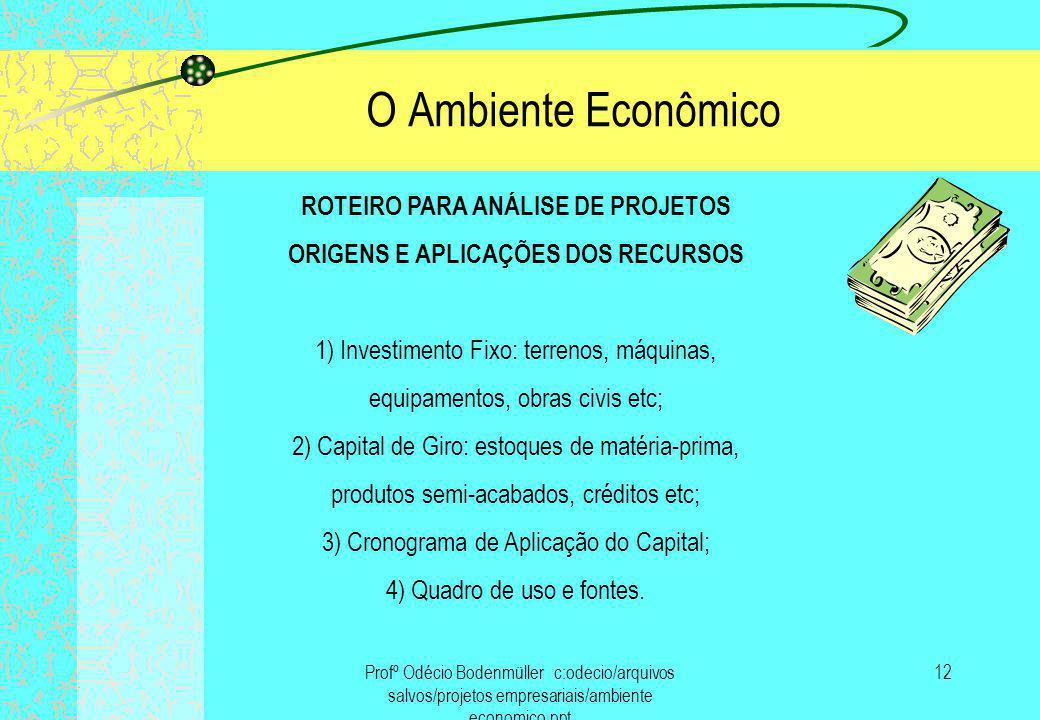 ROTEIRO PARA ANÁLISE DE PROJETOS ORIGENS E APLICAÇÕES DOS RECURSOS