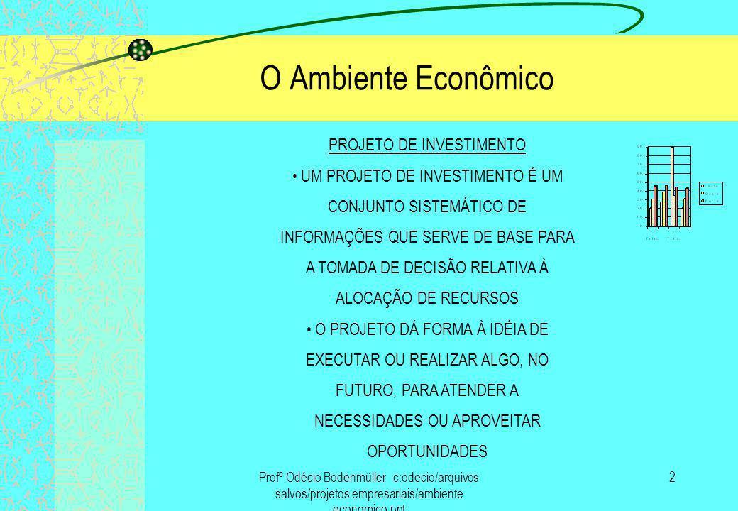 O Ambiente Econômico PROJETO DE INVESTIMENTO