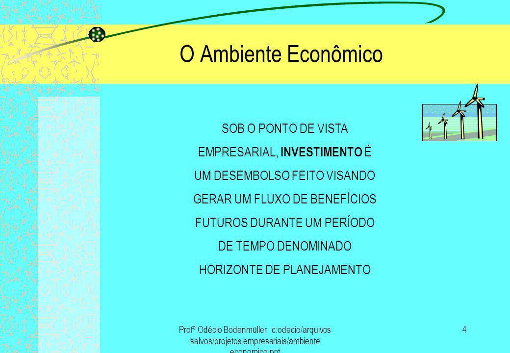 O Ambiente Econômico SOB O PONTO DE VISTA EMPRESARIAL, INVESTIMENTO É