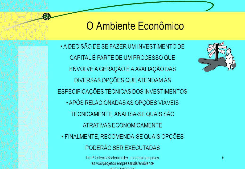 O Ambiente Econômico • A DECISÃO DE SE FAZER UM INVESTIMENTO DE