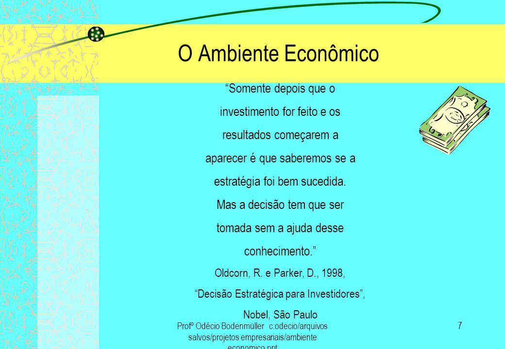 O Ambiente Econômico Somente depois que o investimento for feito e os