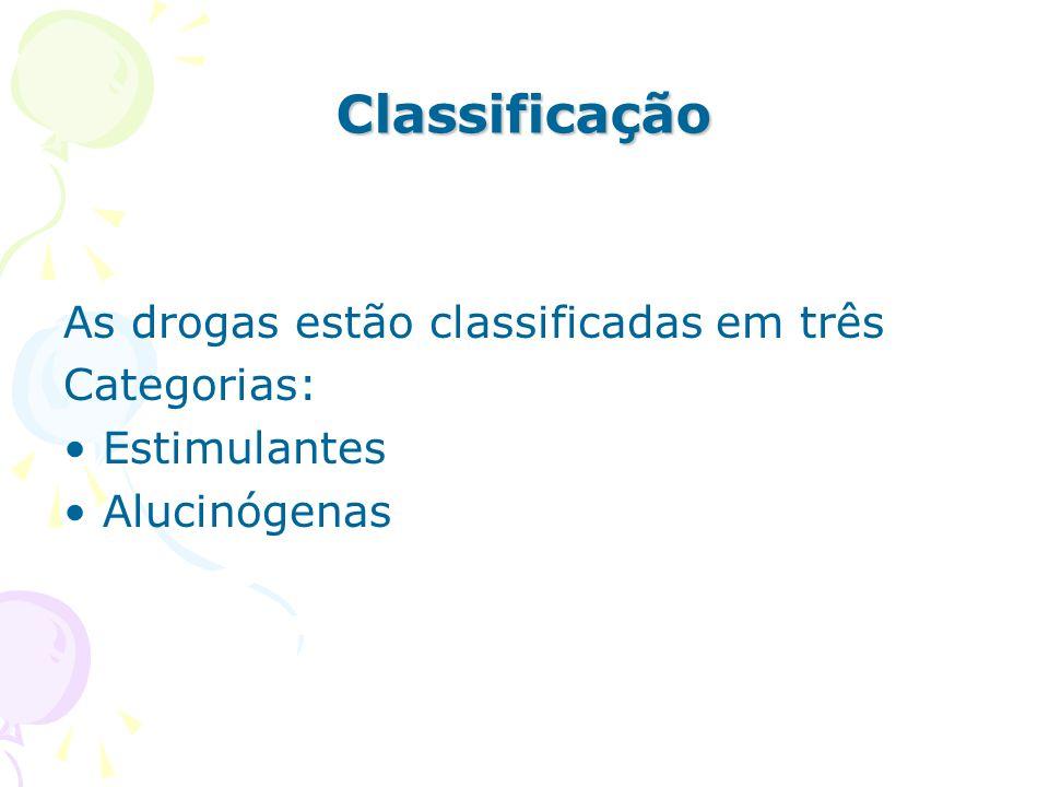 Classificação As drogas estão classificadas em três Categorias: