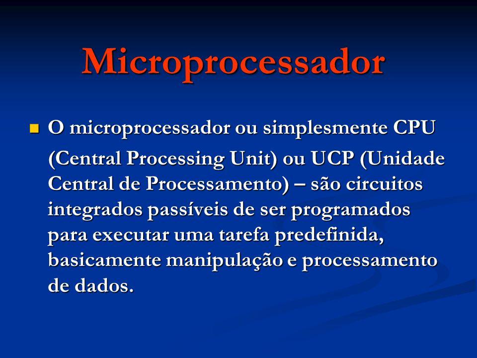 Microprocessador O microprocessador ou simplesmente CPU