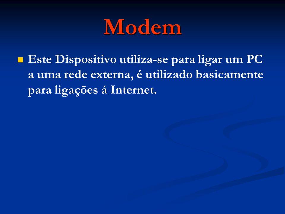Modem Este Dispositivo utiliza-se para ligar um PC a uma rede externa, é utilizado basicamente para ligações á Internet.
