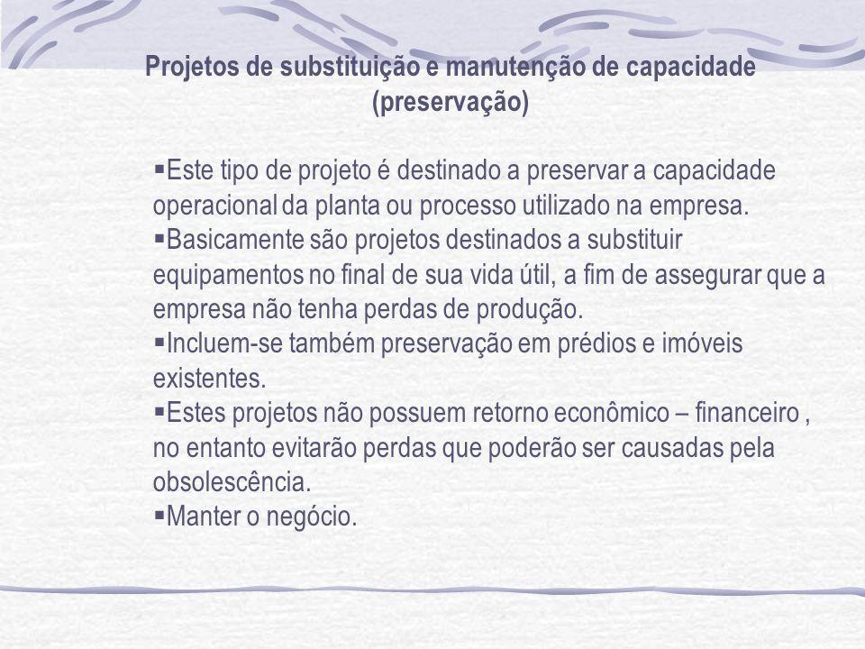 Projetos de substituição e manutenção de capacidade (preservação)