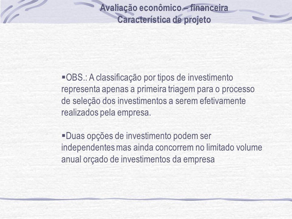 Avaliação econômico – financeira Característica de projeto