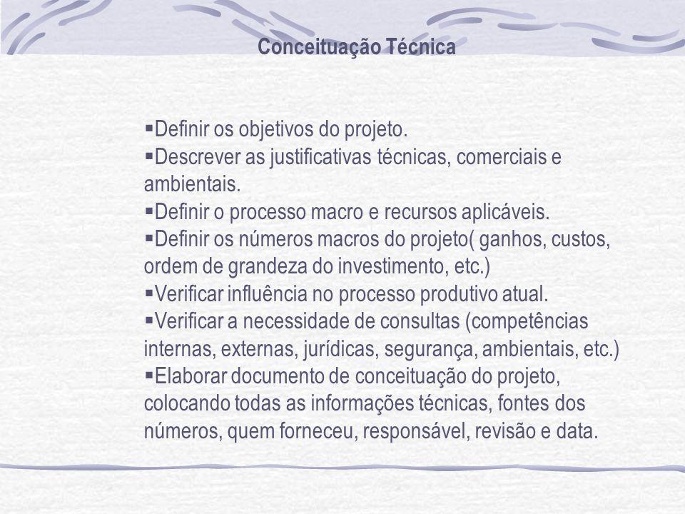 Conceituação Técnica Definir os objetivos do projeto. Descrever as justificativas técnicas, comerciais e ambientais.