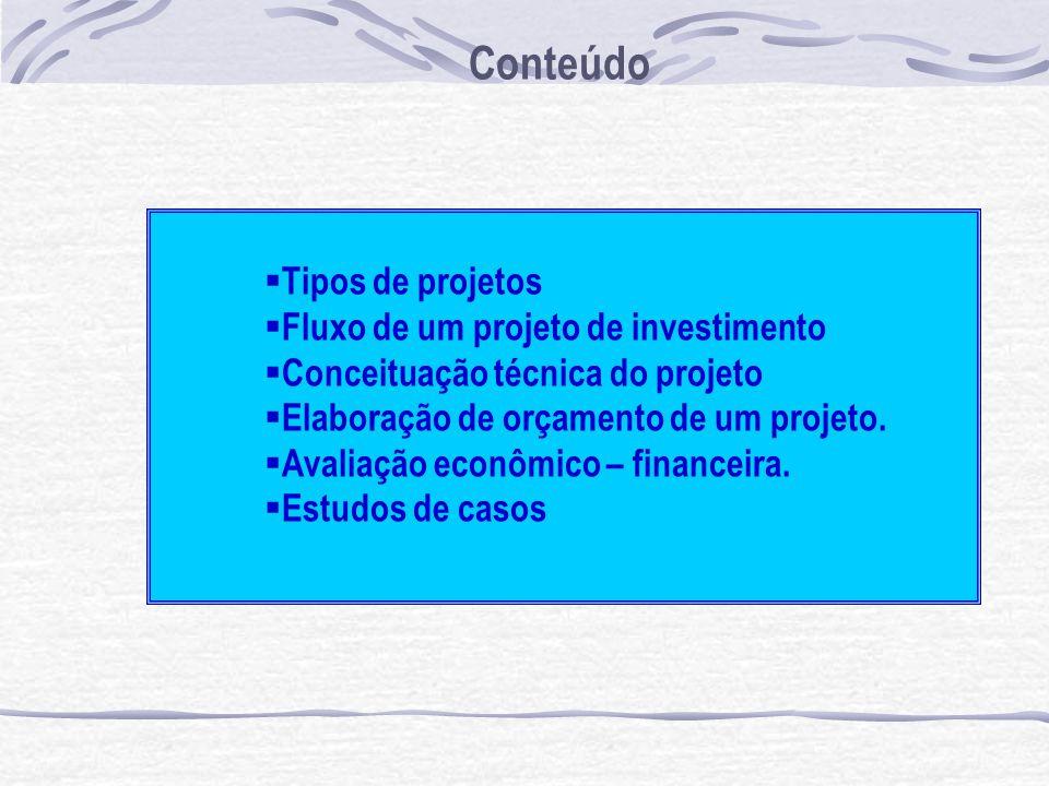 Conteúdo Tipos de projetos Fluxo de um projeto de investimento