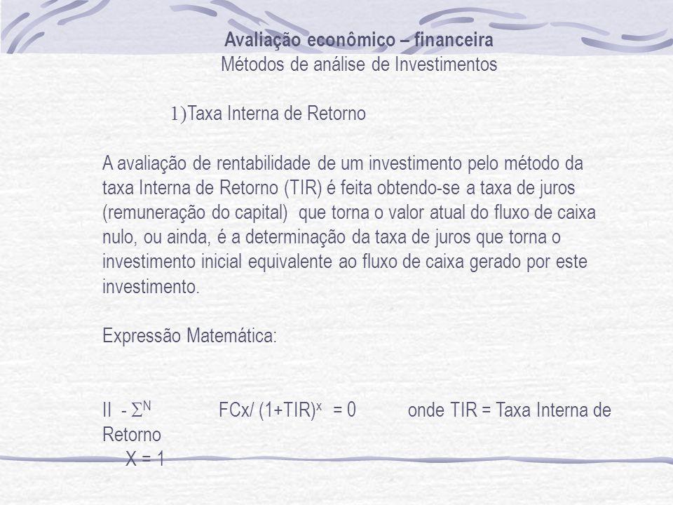 Avaliação econômico – financeira Métodos de análise de Investimentos