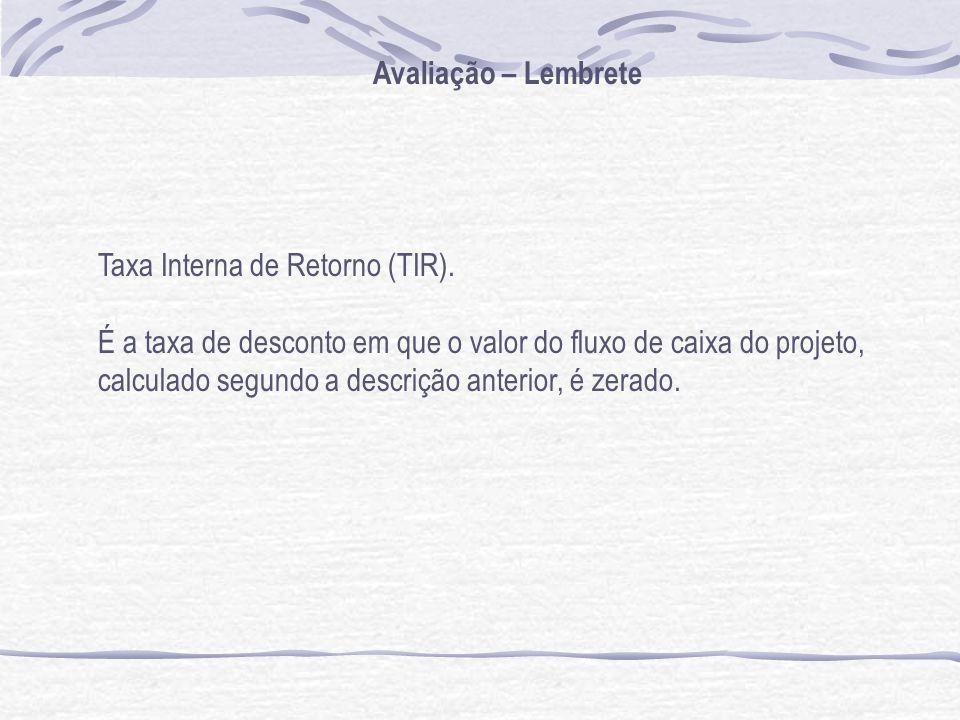 Avaliação – Lembrete Taxa Interna de Retorno (TIR).