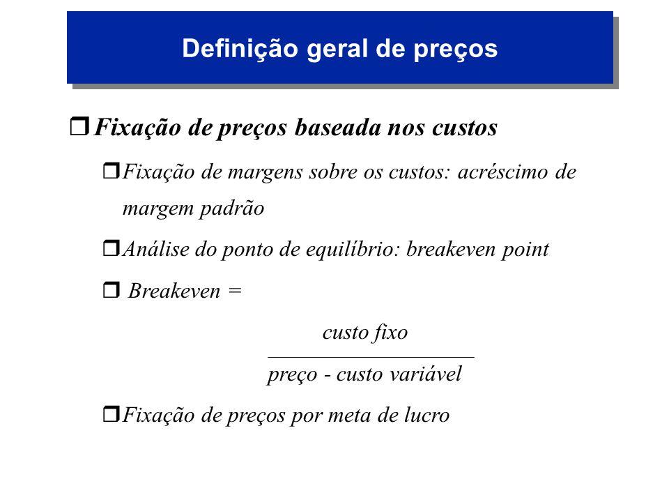 Definição geral de preços