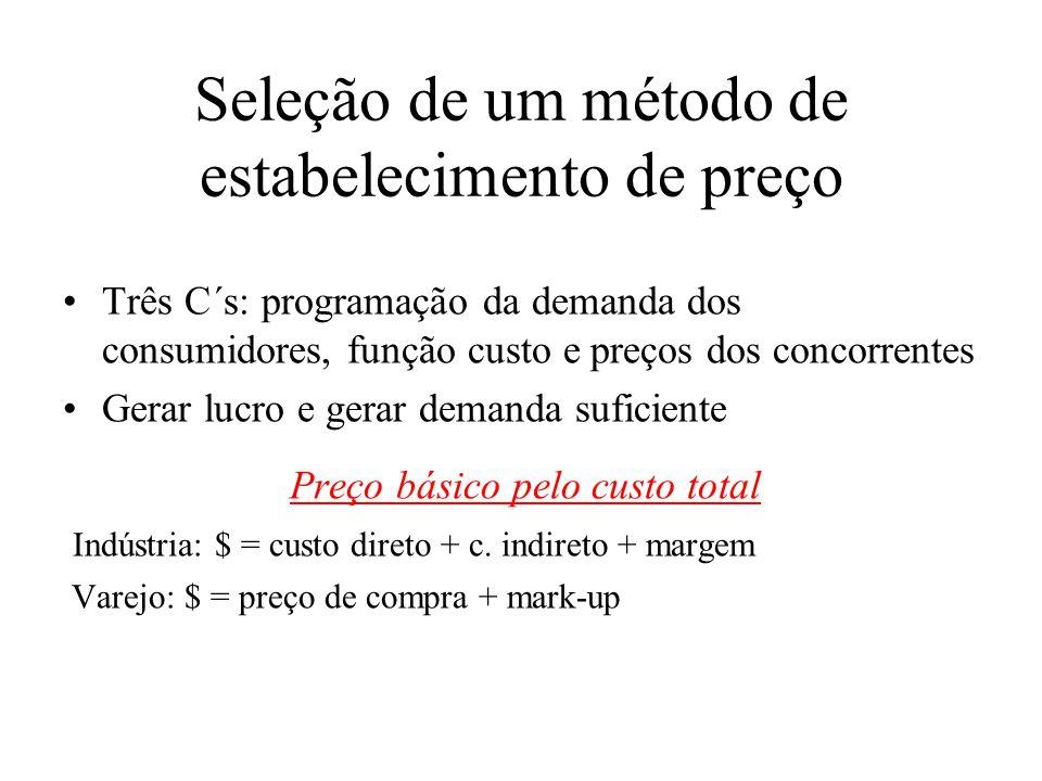 Seleção de um método de estabelecimento de preço