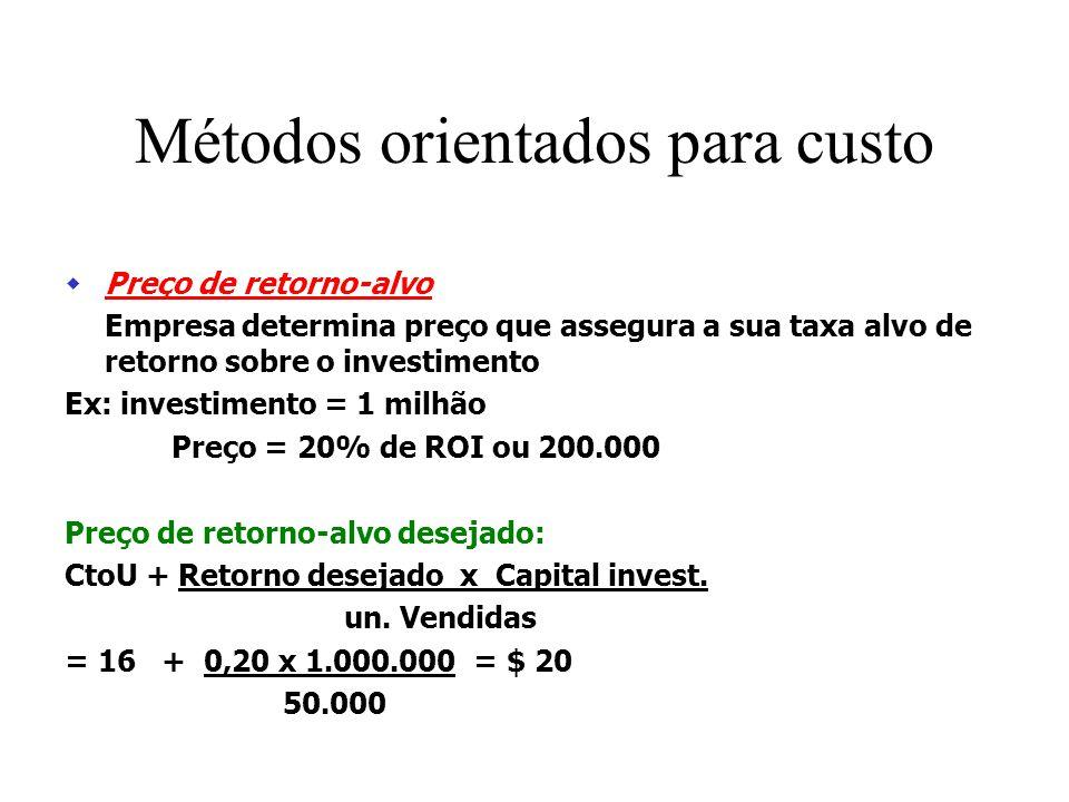 Métodos orientados para custo