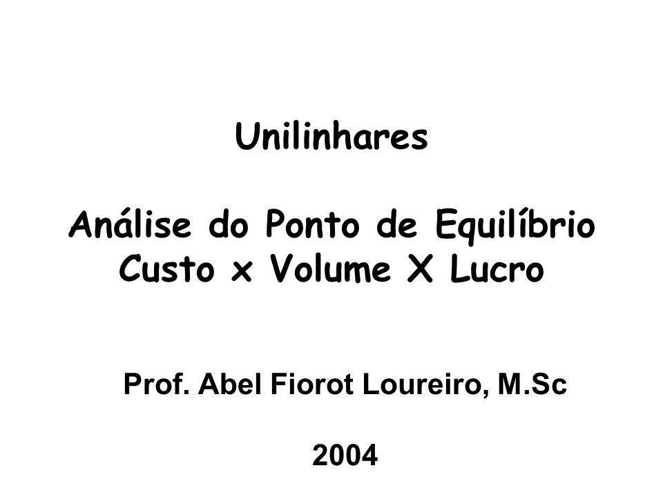 Unilinhares Análise do Ponto de Equilíbrio Custo x Volume X Lucro