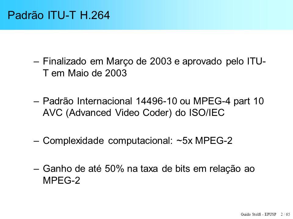 Padrão ITU-T H.264 Finalizado em Março de 2003 e aprovado pelo ITU-T em Maio de 2003.