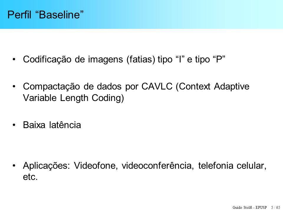 Perfil Baseline Codificação de imagens (fatias) tipo I e tipo P