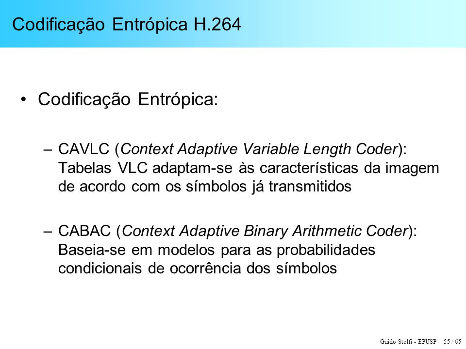 Codificação Entrópica H.264