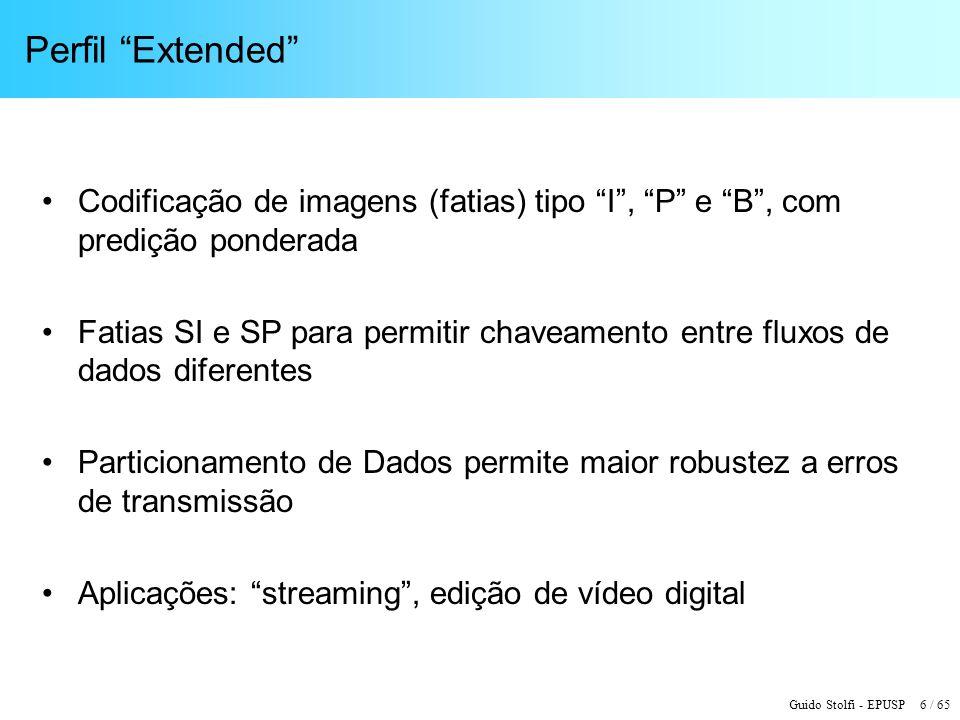 Perfil Extended Codificação de imagens (fatias) tipo I , P e B , com predição ponderada.