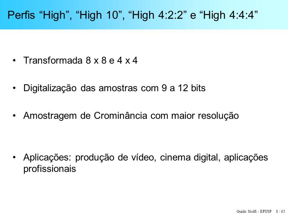 Perfis High , High 10 , High 4:2:2 e High 4:4:4