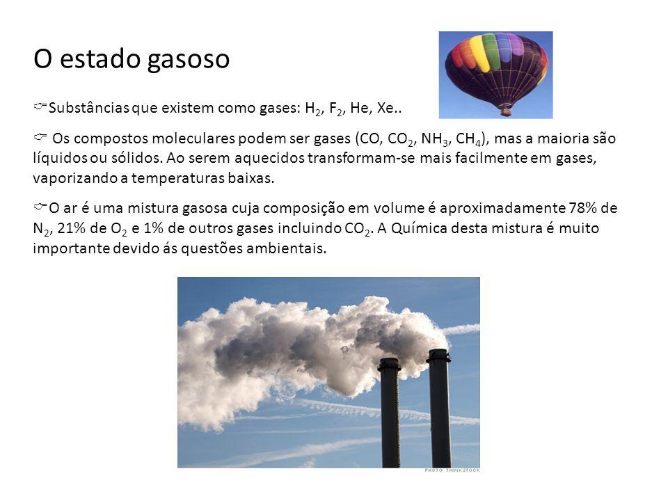 O estado gasoso Substâncias que existem como gases: H2, F2, He, Xe..